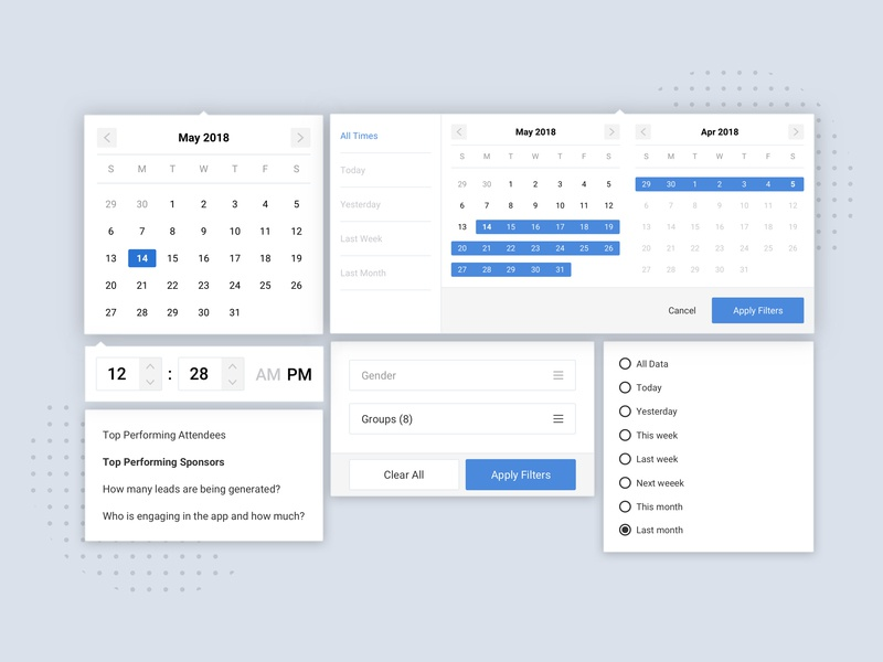 Date & Time Picker and Filtering Dropdown UI Elements by