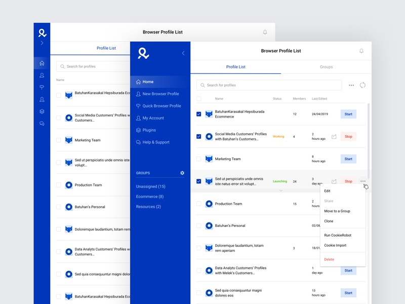 List Page for Multiple Browser Profile Desktop App screen application interface product design browser multiple page list