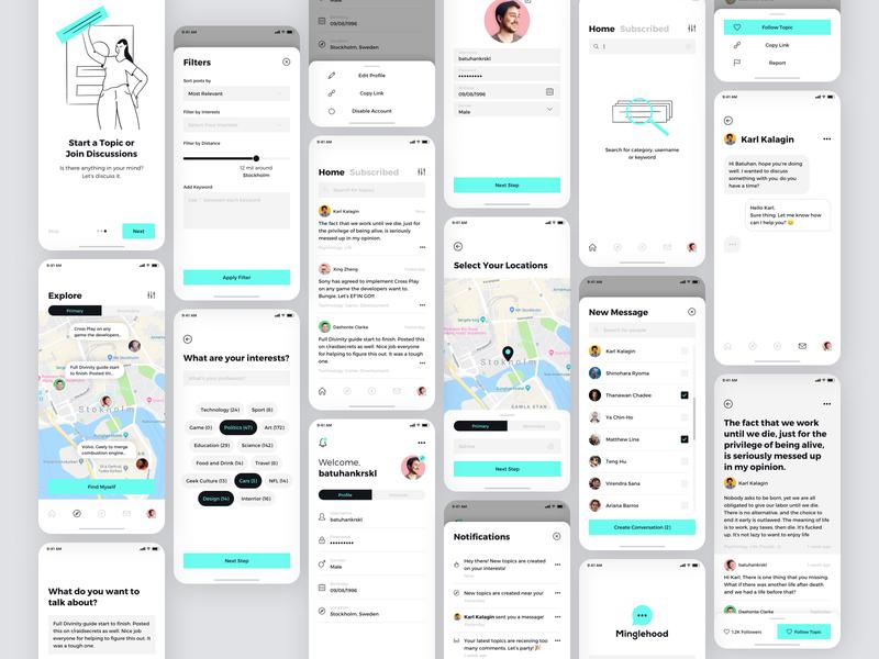 Minglehood Mobile App mobile app design mobile app mobile ui card page mobile ux screen ui application interface product design