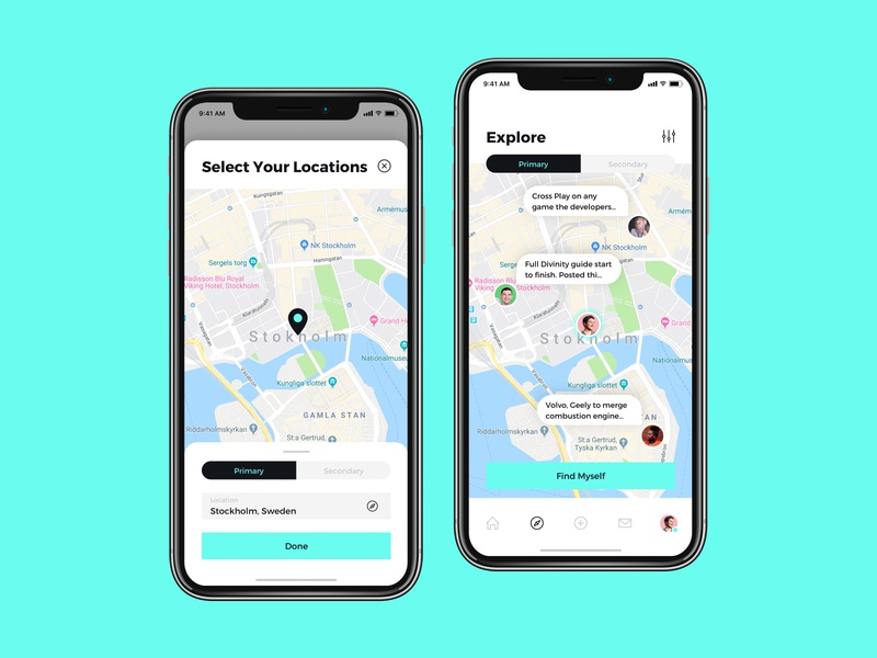 Topics are on the map view of chatting app page ui ux mobile screen application interface product design chat map search explore