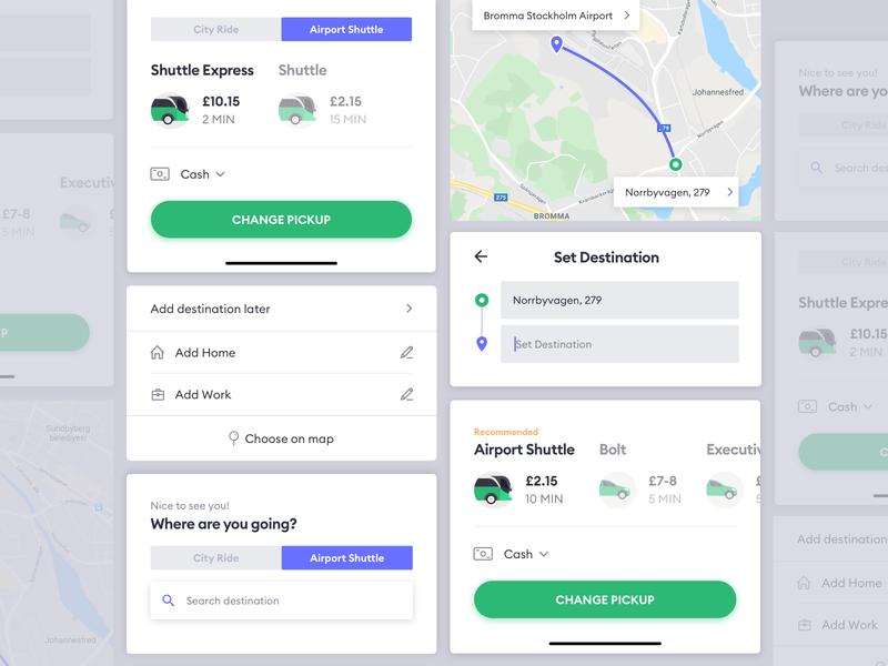 BOLT App Airport Shuttle Feature - UI Component Guideline mobile screen application interface product design style guideline component ui feature shuttle airport bolt