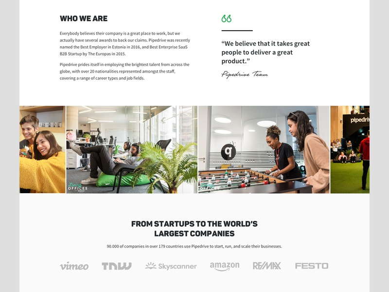 Pipedrive - About us Page Redesign, Who we are section startup customers screen ui interface design pipedrive corporate website web us about section