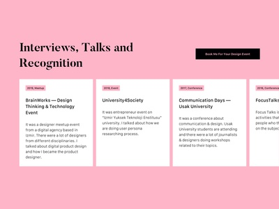 Interviews, Talks and Recognition