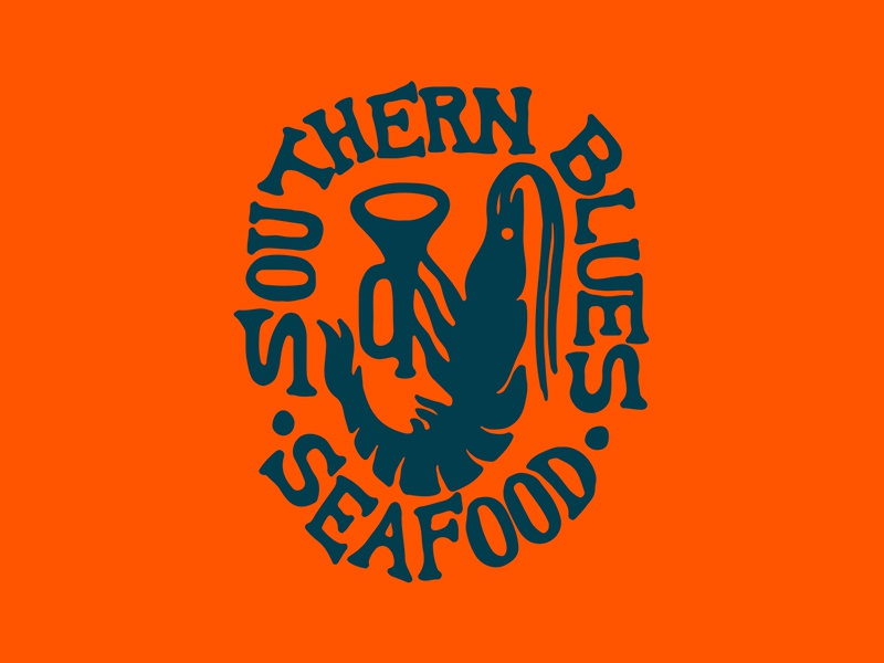 SB Seafood hand drawn illustration identity logo branding lettering restaurant orange trumpet shrimp