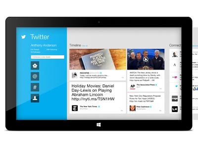 Twitter Windows 8 official app pitch work twitter windows 8 windows microsoft surface app ui ux feed list metro