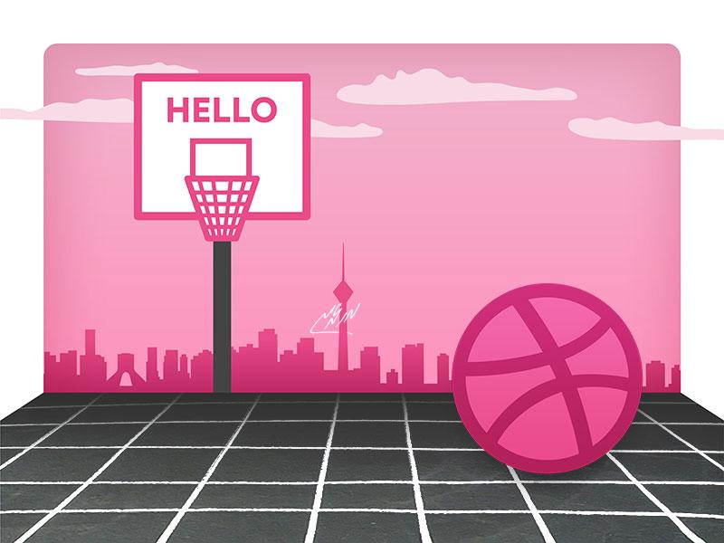 Hello Dribbble tehran first shot hello illustration design basketball court ball dribbble