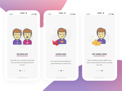 Arioo App - Onboarding illustration character application signup design explanation tour prototype ux ui registration wizard onboarding