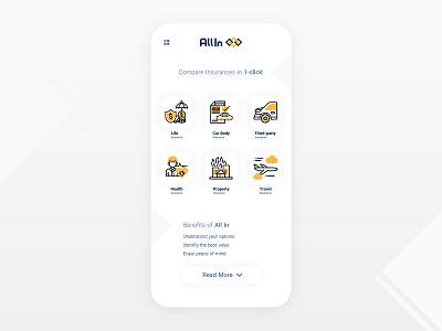 All Insurance App Design design uidesign ui application wizard app product insurance app design ios interface icons graphics website mobile ui car compare