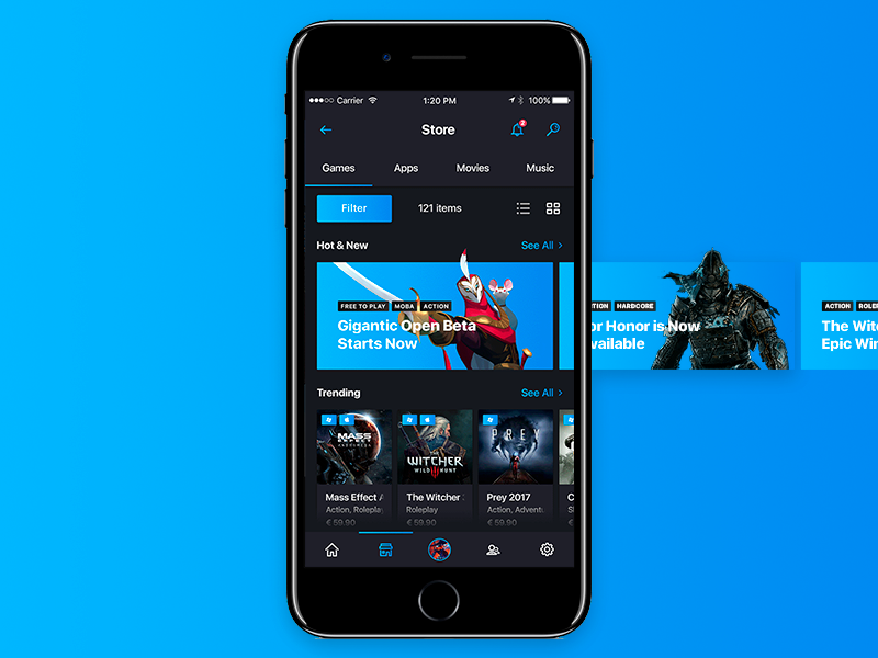 Steam App Redesign [Mobile] mobile games gaming steam store steampowered ui app application shop battle origin