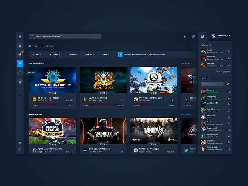 eSports Web Interface [WIP] esl cyber counter strike dota lol tournament ladder games gaming esports