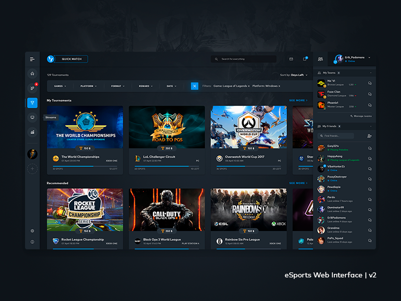 eSports Web Interface v2 esports gaming games ladder tournament lol dota counter strike cyber esl