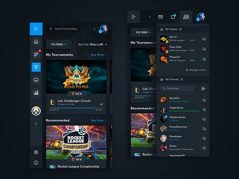 eSports Mobile Web View lol dashboard dark tournament ladder esports gaming games ios mobile app android