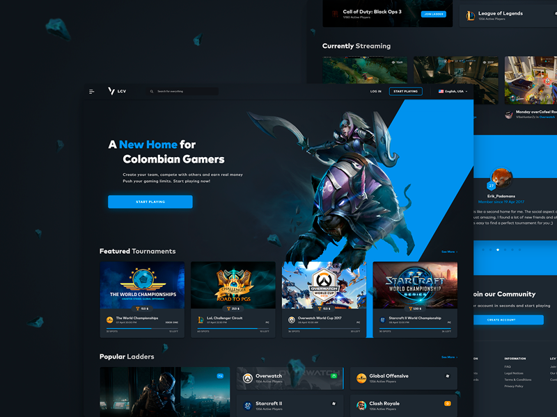 eSports Landing/Home Page tournaments games dota ladder cybersports esports dark gaming ux ui page landing