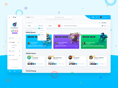Mini-Games User Dashboard dashboard game games matches filter white ui ux interface admin gaming