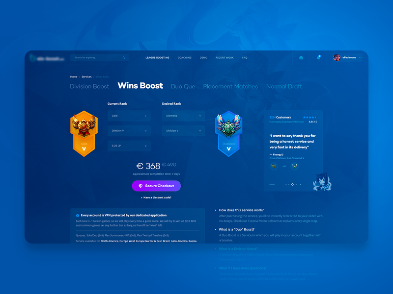 LoL Account Bossting - Services Pages by Erik Padamans ⚪ on