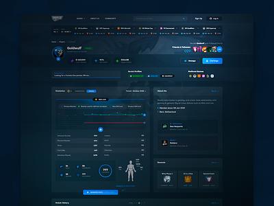 Gamer's Profile UI ux ui tournament dark dashboard dota fortnite counter-strike esports gaming games gamer profile user