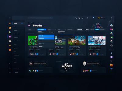 E-Sports Website Design (Tournaments) discord faceit steam ux ui counter-strike apex fortnite tournaments esports gaming games dashboard dark