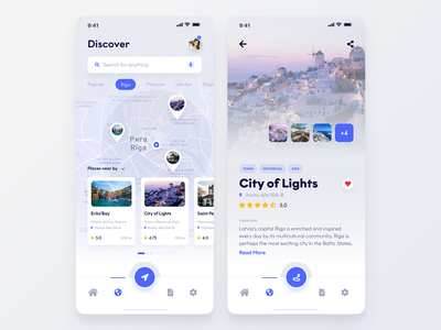 Discover Beautiful Travel Places App street map navigation ux ui travel ios android iphone mobile app