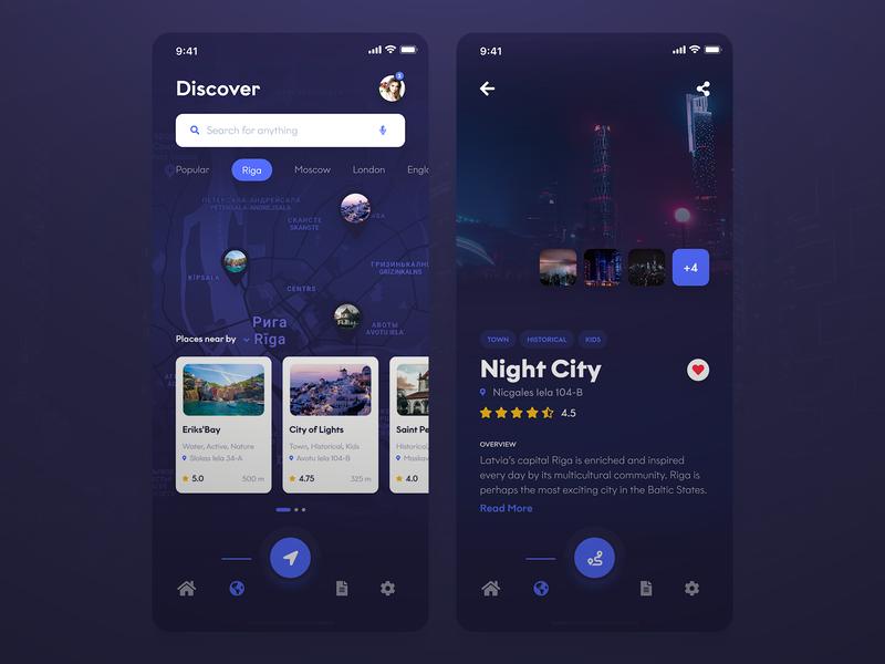 Discover Beautiful Travel Places App [Dark] design destination riga navigation black responsive dark ux ui discover street travel mobile map iphone ios app android
