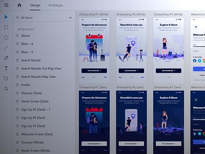 Upcoming Travel UI Kit Preview [Adobe XD] adobe theme mockup download social app white dark adobe xd xd mobile android ios ux kit ui discover travel