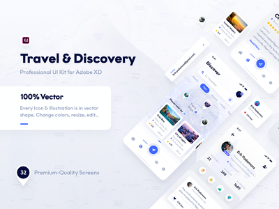 Travel & Discovery Ui Kit (Adobe XD & Photoshop) photoshop discovery travel xd adobe xd adobe mockup theme android apple iphonex ios mobile phone iphone ux ui kit