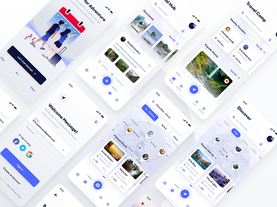 Travel & Discovery Ui Kit (Adobe XD & Photoshop) photoshop light white template ui ui kit mobile iphone x ios iphone apple android theme mockup adobe xd xd travel discovery