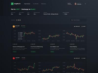 Crypto Screener Dark UI bitcoin crypto exchange exchange dark ui dark theme night web investment trading chart graph analytics dashboard ui ux dark crypto finance cryptocurrency screener