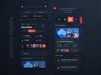 eSports Mobile Web Screens (Dark)