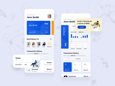 Wallet Application Concept fintech product concept clean white ux ui transfer trading payment mobile ios interface design finance wallet currency banking app account