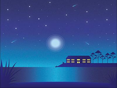 Night Scene nature landscape moon flat space illustration