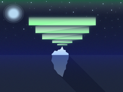 Iceberg & Northern Lights vector illustration nature northern lights iceberg