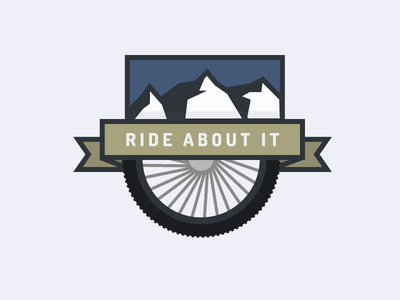 Ride About It mountains wheel banner badge biking mountain mtb