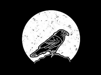 Drunk Crow raven work line white crow bird black