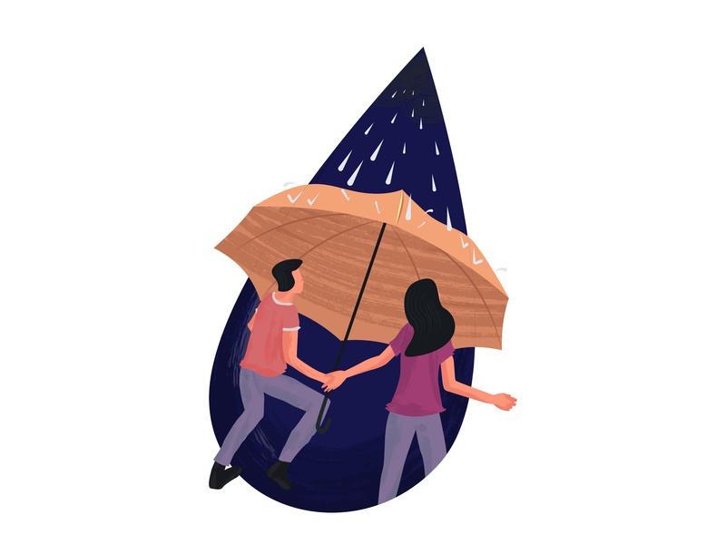 Help in times of trouble illustration trouble blue storm shirt design water umbrella raindrop rain disaster hurricane donation help typhoon charity