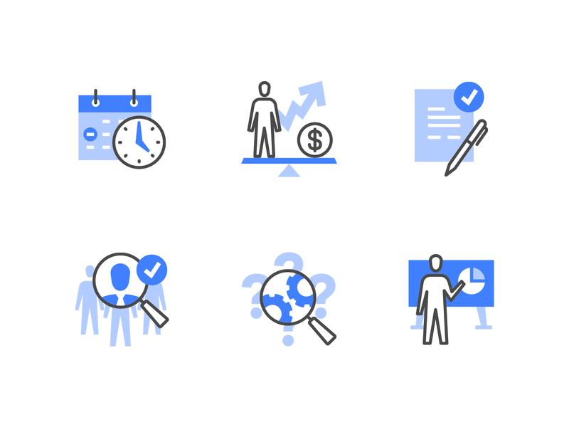 Human resources management icons recruitment employee icon design teamwork presentation iconography headhunter management business human hr icon