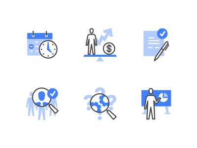 Human resources management icons recruitment employee icon design teamwork presentation iconography headhunter management business human hr icon