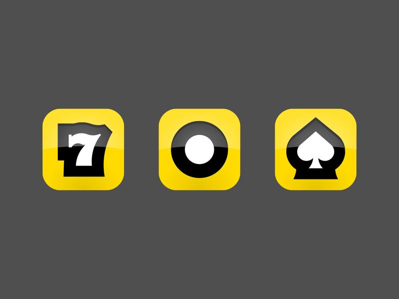 App icons branding design logo yellow mobile play game slot machine casino vegas bet icon app