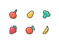 Fruit / Vegetable icon set