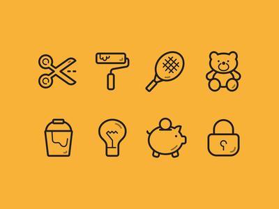 Stroke Icon teddy bear tennis racket bucket roller piggy bank padlock scissors light bulb yellow icon
