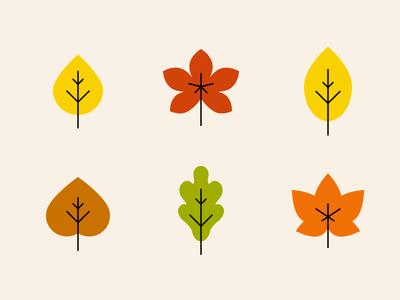 Autumn Leaves Icons hornbeam aspen chestnut maple birch oak leaves fall autumn