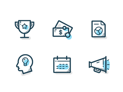 Business icons simple line set grey blue icon business