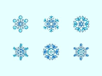 Snowflakes icons christmas blue winter icon snowflake