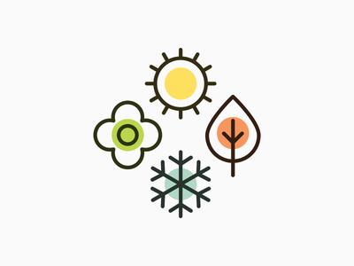 Seasons Icon winter autumn fall summer spring season