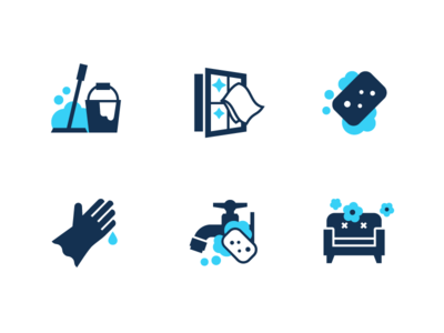 Cleaning icons rubber gloves mop sponge tap sofa window set icon household water polish wash cleaning clean