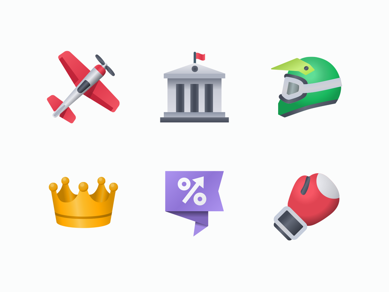 Web icons vector illustration application icon design percentage building airplane motocross government box crown flat bet sport icon