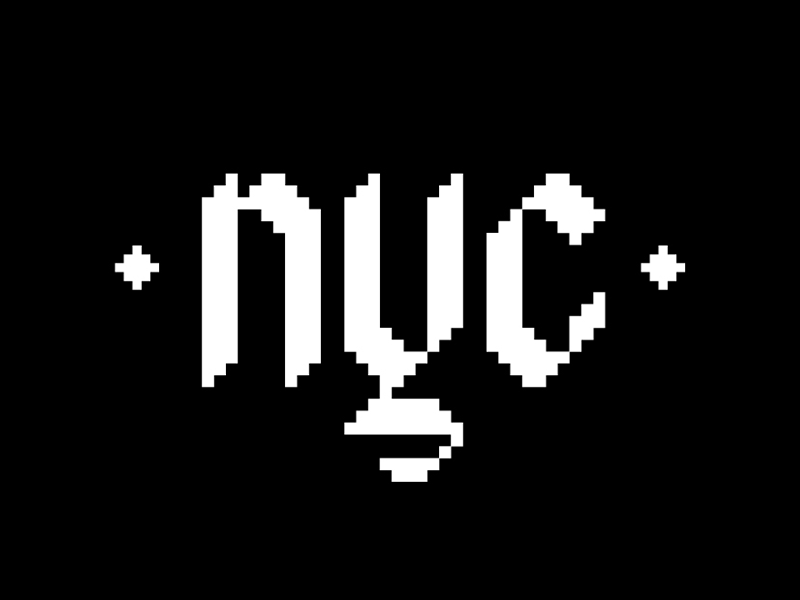 NY Pixel lettering typography black and white type