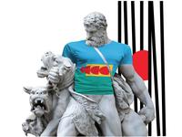 Antic Greek Statues of Hercules muscle sculpture in t-shirt