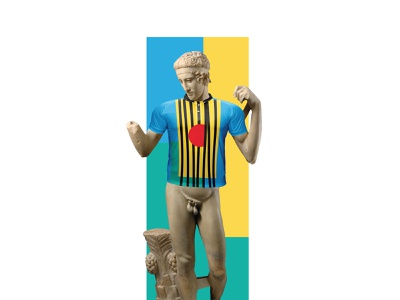 Antic Greek Statue of Diadoumenos in t-shirt with branding logo greek statue t-shirt with branding t-shirt design t-shirt diadoumenos statue greek antic identity branding identity design identity digital branding illustration grozny germany munich saint digital design