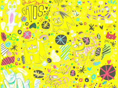 GATOS crayons childrens illustration childish pattern art pattern doodler illustration doddle art doodleart doodle artist doodle crayola yellow crayon pet gatitos cat gato