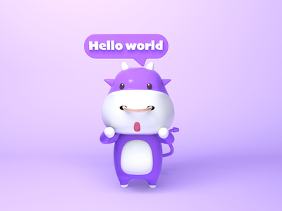 Cartoon illustration design cool icon gui sexy hello octanerender cartoon c4d 3d violet ui ux girl lovely cattle cow